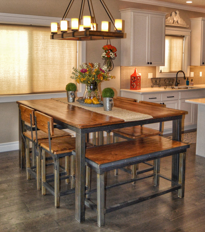 industrial rustic design furniture. Rustic Industrial Dining Table Combines A Modern Edge With Classic Design  And Can Be Customized For Size Finish. This Set Was Designed The Industrial Rustic Furniture